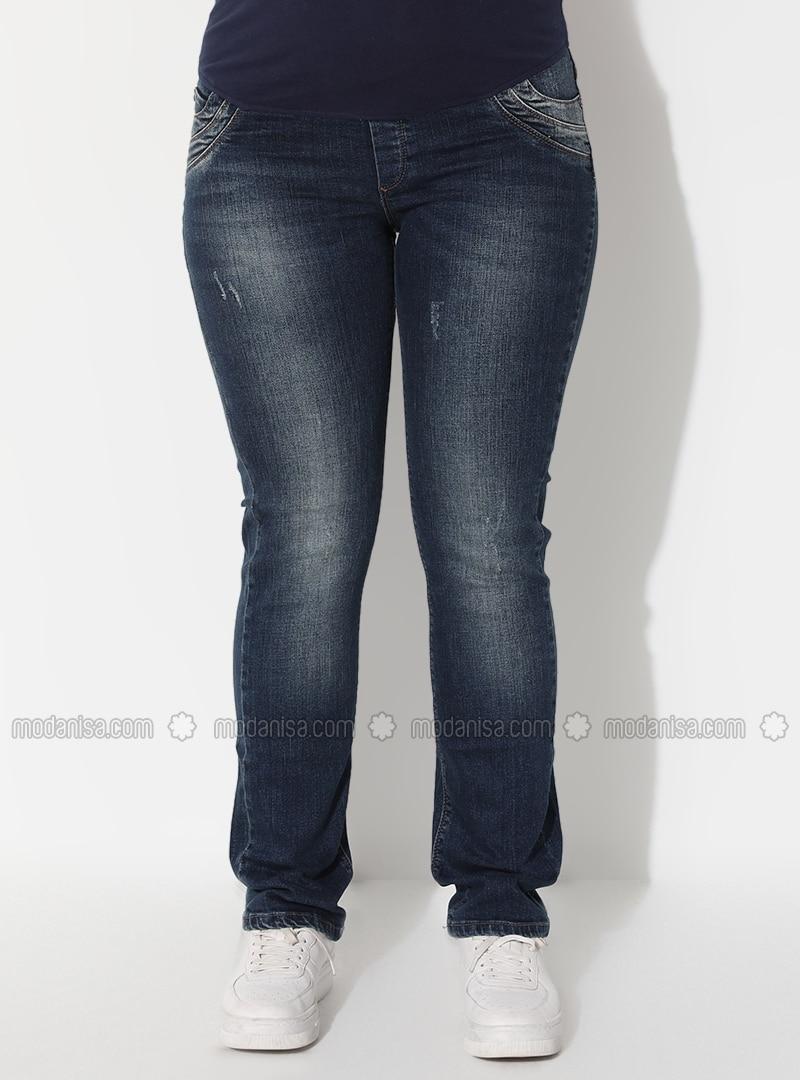 Navy Blue - Denim - Cotton - Unlined - Maternity Pants