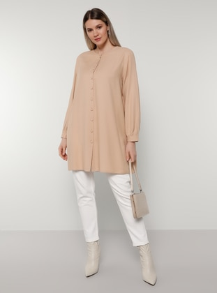 Beige - Crew neck - Plus Size Tunic