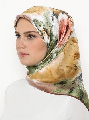Khaki - Terra Cotta - Printed - Rayon - Scarf