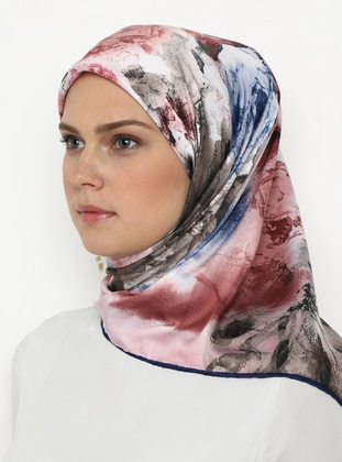 Dusty Rose - Blue - Mink - Printed - Rayon - Scarf