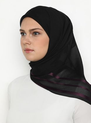 Plum - Black - Plain - Chiffon - Scarf