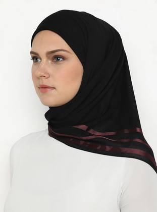 Dusty Rose - Black - Plain - Chiffon - Scarf