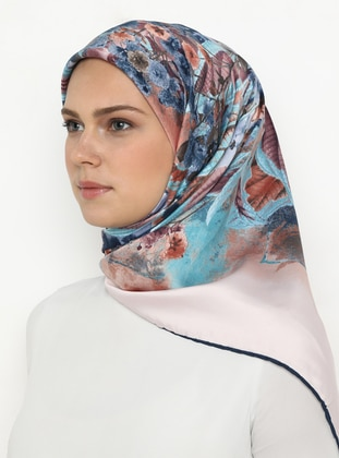 Navy Blue - Mint - Salmon - Printed - Scarf
