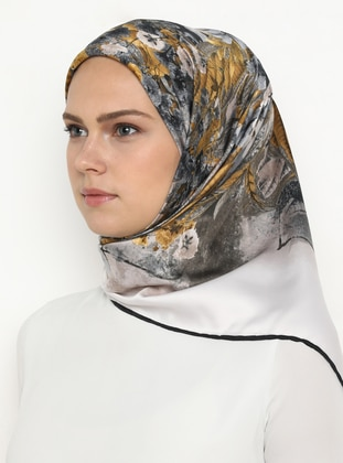 Gold - Gray - Black - Printed - Scarf