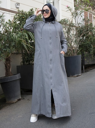 Gray - Unlined - Denim -  Lyocell - Abaya