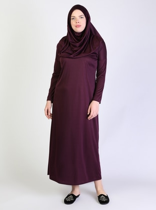 Plum - Unlined - Lined Collar - Plus Size Dress