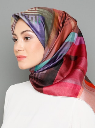 Multi - Digital Printing - %100 Silk - Scarf