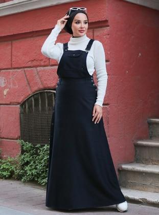 Unlined - Denim - Modal - - Black - Skirt Overalls - Neways