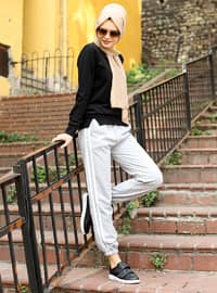 Gray - Stripe - Acrylic - - Pants