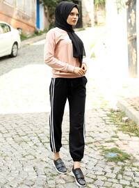 Black - Stripe - Acrylic -  - Pants