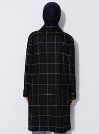 Black - Checkered - Unlined - Point Collar - Viscose - Trench Coat