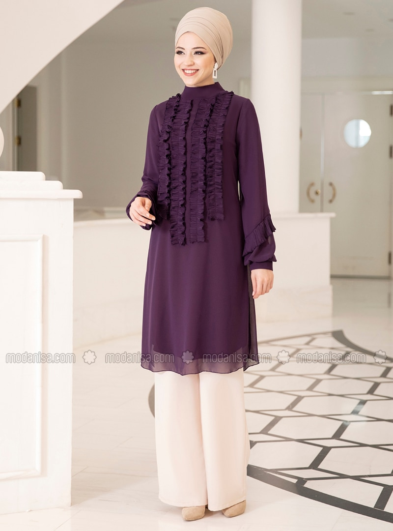 Plum - Polo neck - Chiffon - Tunic