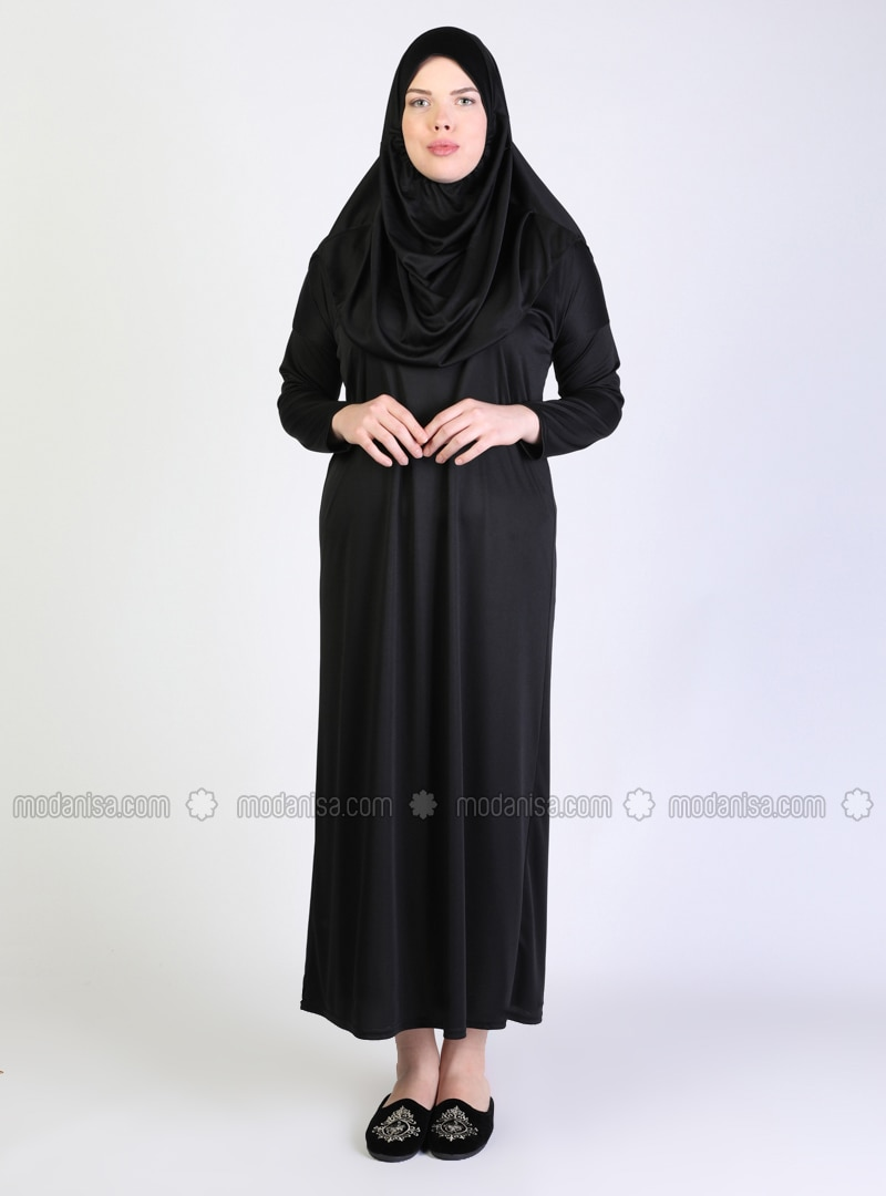 Black - Unlined - Lined Collar - Plus Size Dress