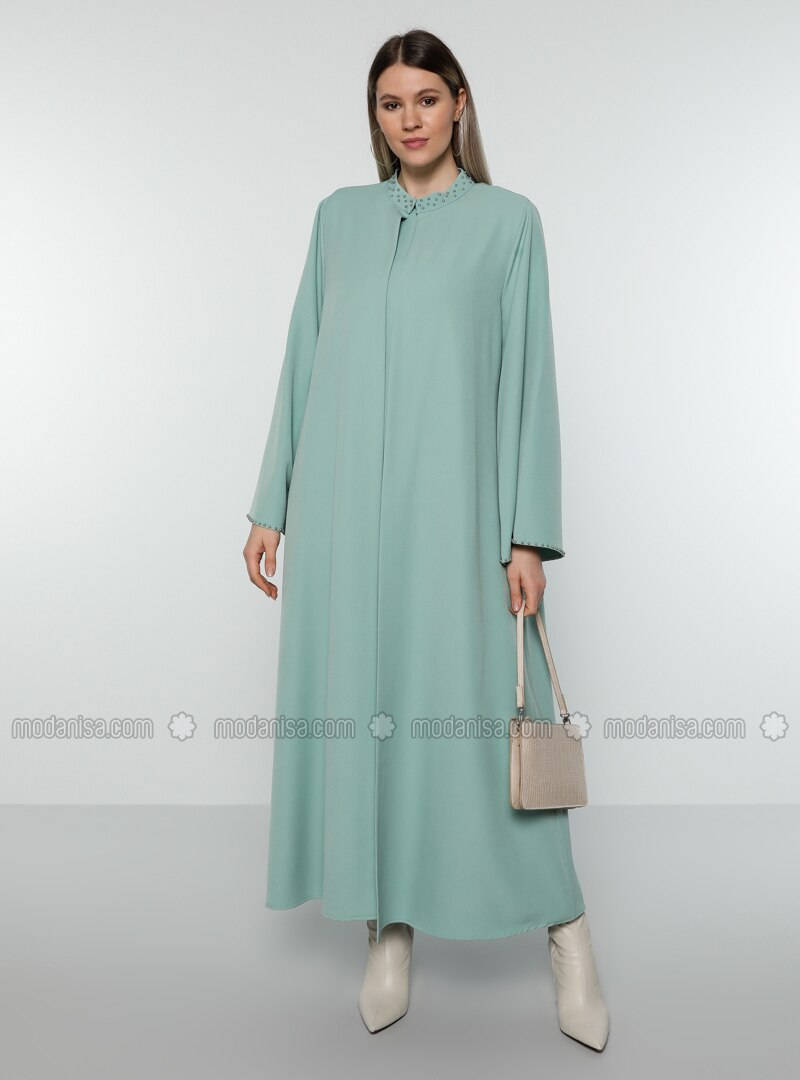 Sea-green - Crew neck - Unlined - Plus Size Evening Suit