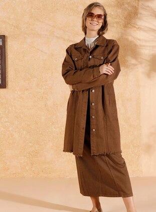 Brown - Unlined - Point Collar - Denim -  - Jacket