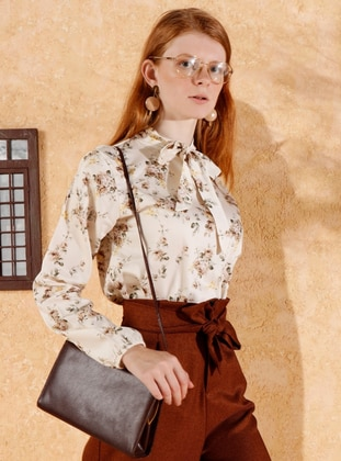 Brown - Floral - Polo neck -  - Blouses