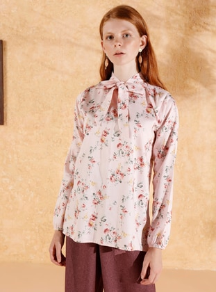 Pink - Floral - Polo neck -  - Blouses