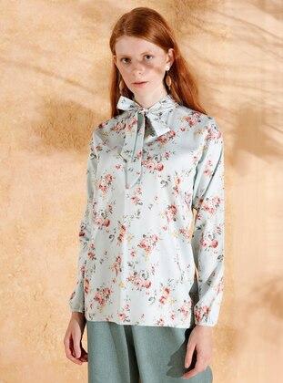 Sea-green - Floral - Polo neck -  - Blouses