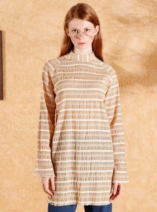 Brown - Stripe - Polo neck -  - Blouses