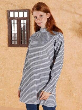 Blue - Stripe - Polo neck -  - Blouses