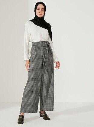 Gray - Plaid -  - Pants