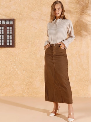 Brown - Unlined - Denim -  - Skirt