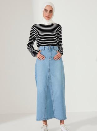 Brown - Unlined - Denim -  - Skirt