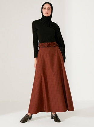 Brown - Plaid - Unlined -  - Skirt