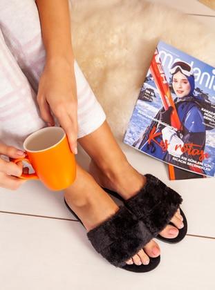Sandal - Black - Home Shoes - Ayakkabı Havuzu