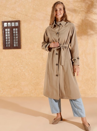 Mink - Fully Lined - Point Collar - Canvas -  - Trench Coat