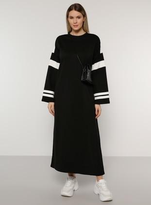 White - Ecru - Black - Unlined - Crew neck -  - Plus Size Dress