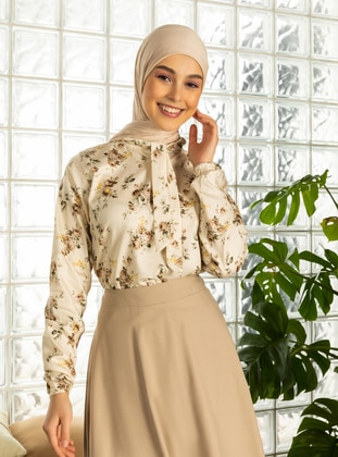 Brown - Brown - Floral - Polo neck - Cotton - Brown - Floral - Polo neck - Cotton - Brown - Floral - Polo neck - Cotton - Brown - Floral - Polo neck - Cotton - Blouses - Ceylan Otantik