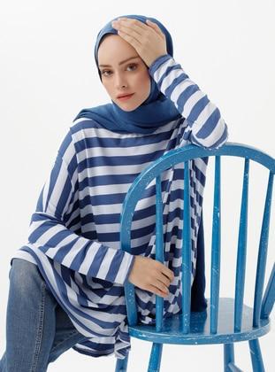 Blue - Stripe - Crew neck - Viscose - Tunic