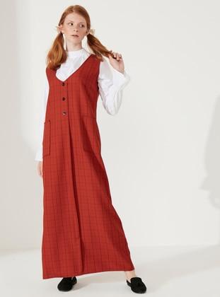 Cinnamon - Cinnamon - Plaid - V neck Collar - Unlined - Cotton - Dress