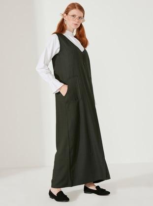 Green - Green - Plaid - V neck Collar - Unlined - Cotton - Dress