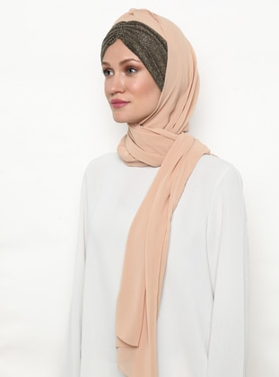 Gold - Beige - Gold - Plain - Instant Scarf
