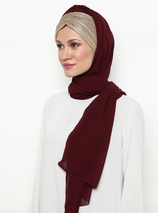 Gold - Maroon - Plain - Instant Scarf