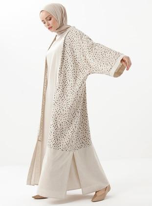 Beige - Camel - Floral - Shawl Collar - Linen - Viscose - Topcoat
