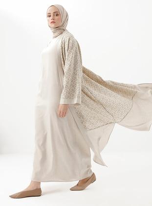 Beige - Khaki - Floral - Shawl Collar - Linen - Viscose - Topcoat