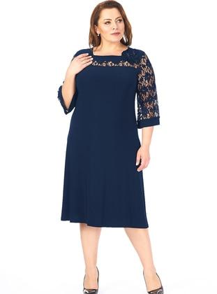 Navy Blue - Fully Lined - Sweatheart Neckline - Muslim Plus Size Evening Dress