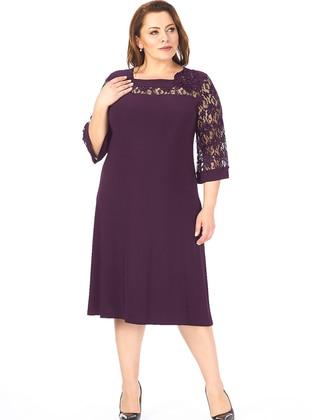 Plum - Fully Lined - Sweatheart Neckline - Muslim Plus Size Evening Dress