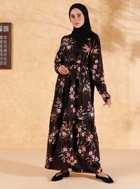 Black - Black - Floral - Crew neck - Unlined - Cotton - Dress
