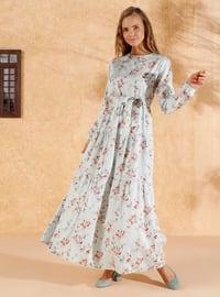 Sea-green - Sea-green - Floral - Crew neck - Unlined - Cotton - Dress