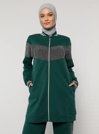 Green - Emerald - Polo neck - Tracksuit Set
