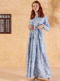 Blue - Blue - Multi - Crew neck - Unlined - Cotton - Dress