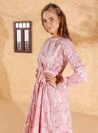 Pink - Pink - Multi - Crew neck - Unlined - Cotton - Dress