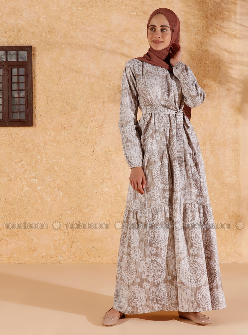 Brown - Brown - Multi - Crew neck - Unlined - Cotton - Dress