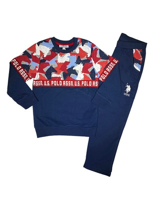 Multi - Crew neck -  - Red - Boys` Tracksuit
