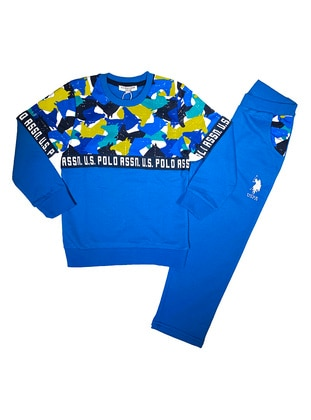 Multi - Crew neck -  - Blue - Boys` Tracksuit