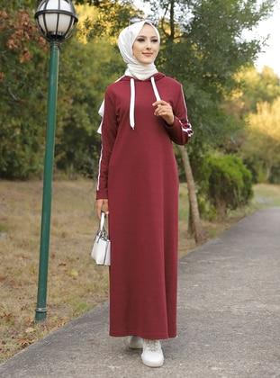 Maroon - Unlined -  - Dress - Tofisa